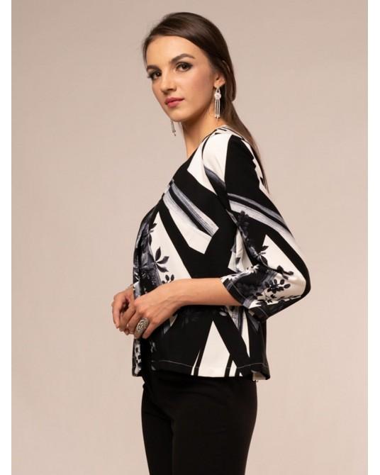 Siena Geometric Daisy Print Jacket