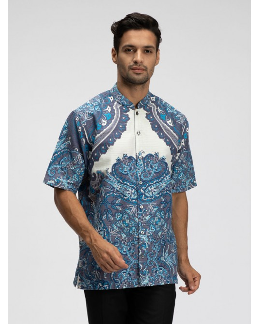 Etro Aquamarine Short Sleeve Kaftan