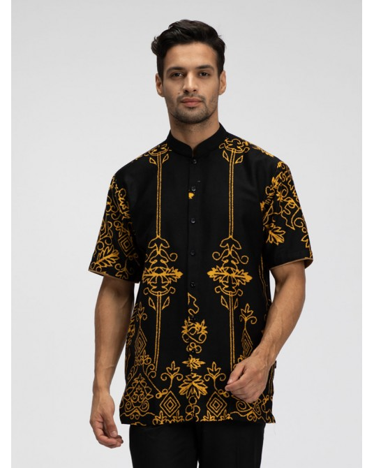 Golden Ikhat Short Sleeve Kaftan