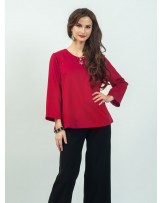 Celline Red Simple Blouse