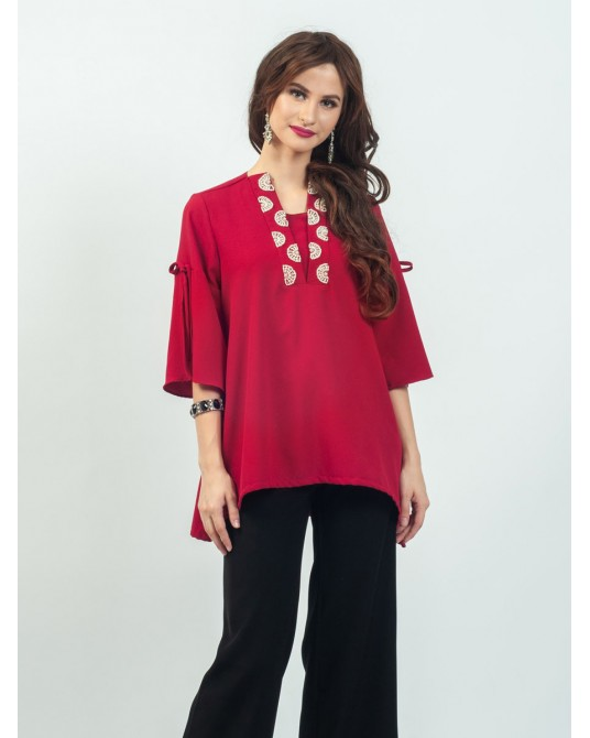 Celline Red Slit Blouse