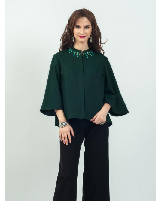 Celline Green Batwing Blouse