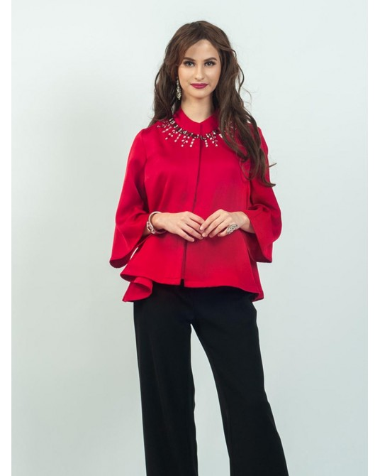 Celline Red Batwing Blouse