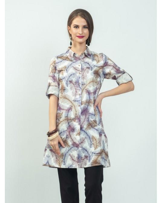 Ayana Lilac Feathers Tunic Shirt