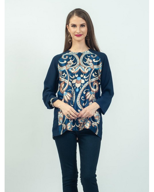 Callista Navy Imperial Blouse